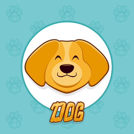 Head of happy brown dog in white round banner on blue background with paws. The zodiac symbol of the 2018 new year, illustration. Illustration