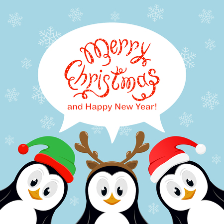 Text Merry Christmas and Happy New Year in speech bubble on blue background with falling snowflakes. Three little cute penguins with Santa hat, elf hat and reindeer antlers, illustration.