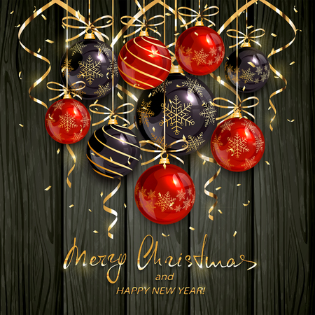 Red and black Christmas balls and golden streamers on black wooden background. Holiday lettering Merry Christmas and Happy New Year, illustration.