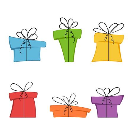 Set of Christmas or Birthday gift boxes.