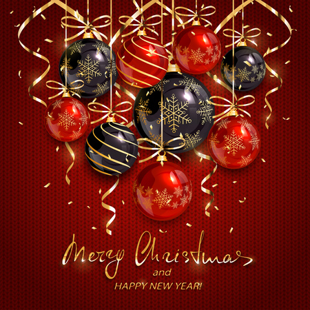 Red and black Christmas balls and golden streamers on knitted design. 일러스트