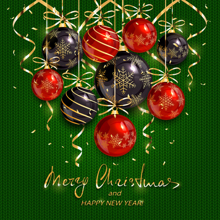 Red and black Christmas balls and golden streamers on green knitted background. Holiday lettering Merry Christmas and Happy New Year, illustration.