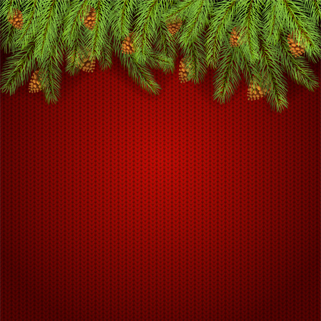 Christmas background and spruce branches with pine cones. Holiday decorations on red knitted pattern, illustration.
