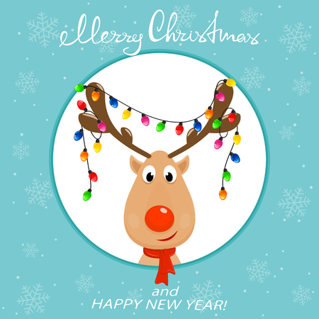 The Head of Happy reindeer with red nose and Christmas lights on the antlers. Christmas character Rudolph, in the round banner on blue background with snowflakes, illustration.