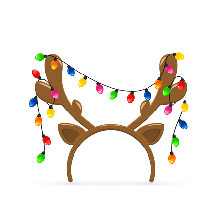 Christmas mask with brown reindeer antlers and Christmas lights isolated on white background, illustration.