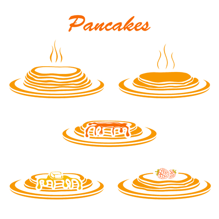 Set of pancakes with butter, berry and maple syrup isolated on white background, illustration.
