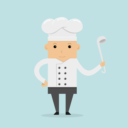 Happy cook with hat in uniform. Chef with ladle in hand on blue background, illustration.