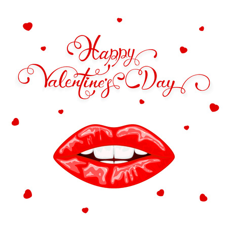 Text Happy Valentines Day with hearts and red female lips isolated on white background, illustration. Illustration
