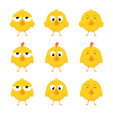 Set of funny yellow chickens isolated on white background, illustration.