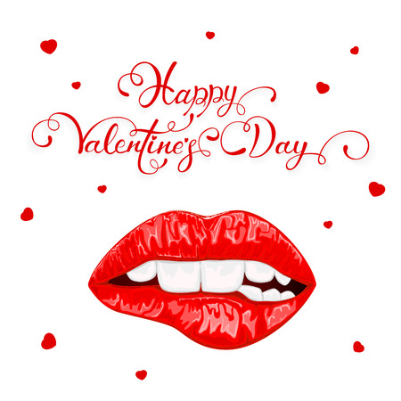 Text Happy Valentines Day with red hearts and biting female lips isolated on white background, illustration.