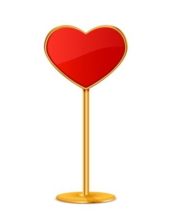 Road sign in the form of red heart on a golden stand, illustration.
