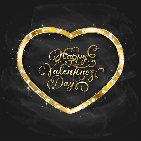 Gold heart with diamonds and lettering happy Valentines Day on black chalkboard background, illustration.