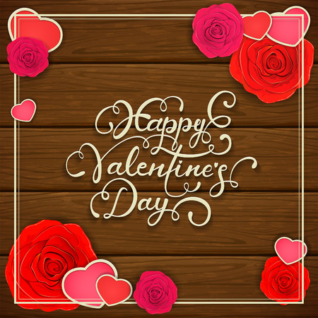 Lettering Happy Valentines Day with hearts and roses on brown wooden background, illustration.