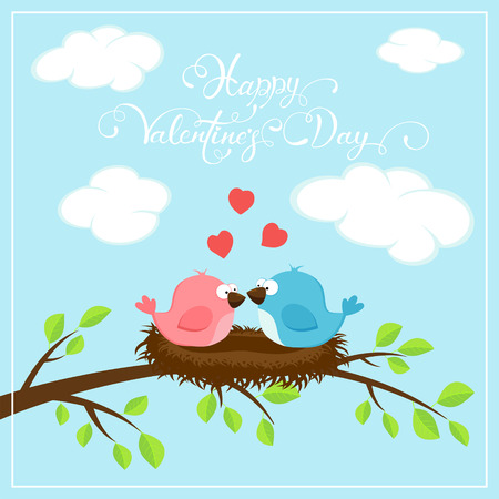 Valentines background with red hearts and two loving birds on the nest. Holiday lettering Happy Valentines Day on blue sky background, illustration. Illustration