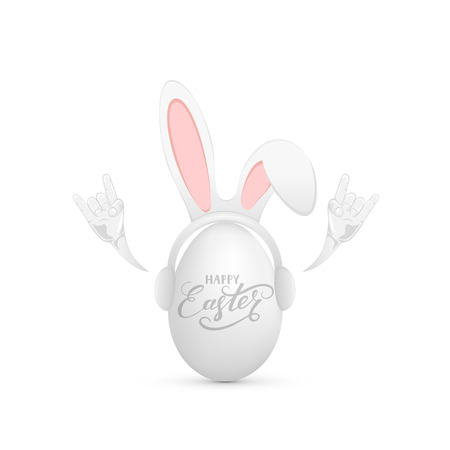 Funny mask with rabbit ears on Easter egg and rock and roll hand, illustration.