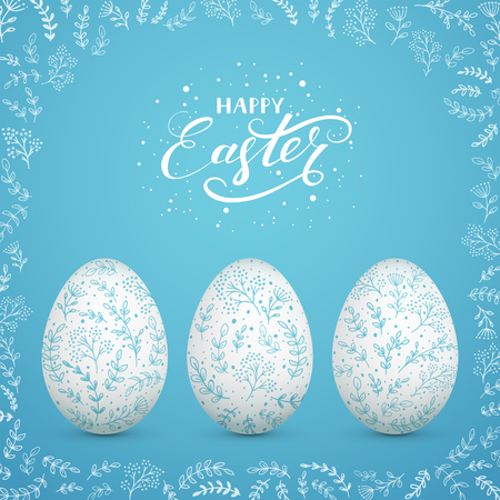 Set of Easter eggs with floral decorative patterns, on blue background with ornate elements. Lettering Happy Easter, illustration.