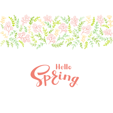 Floral elements with colorful decorative flowers and branches. Pink lettering Hello Spring on white background, illustration.