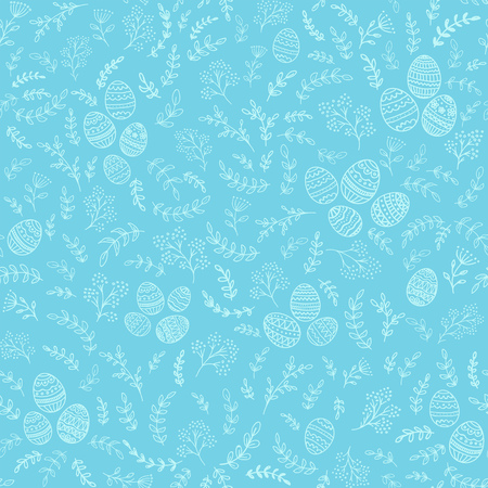 Seamless Easter decorations with Floral elements with decorative eggs on blue background, illustration.