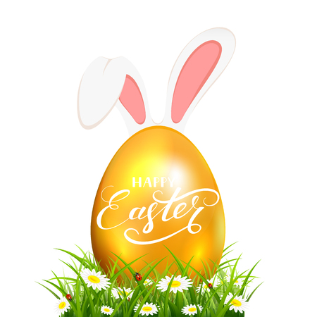 Golden Easter egg with rabbit ears and lettering Happy Easter in grass with flowers on white background, illustration.