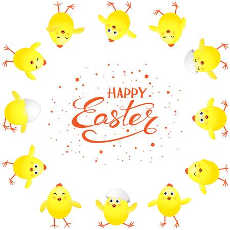 Grappige gele kippen en rode vakantie die Gelukkige Pasen op witte achtergrond, illustratie van letters voorzien.