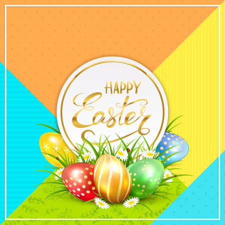 Abstract colorful background and round card with text Happy Easter. Multicolored Easter eggs on grass and flowers, illustration.