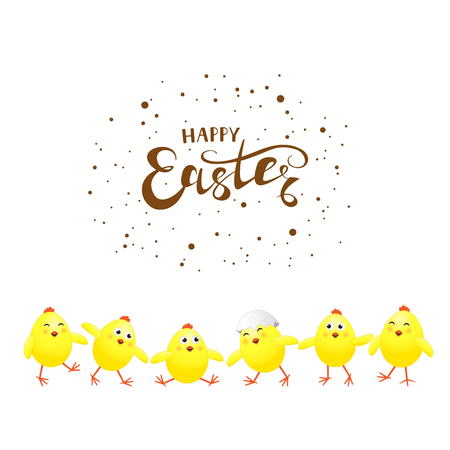 Six funny yellow chickens and holiday lettering Happy Easter on white background, vector illustration. Stock Illustratie