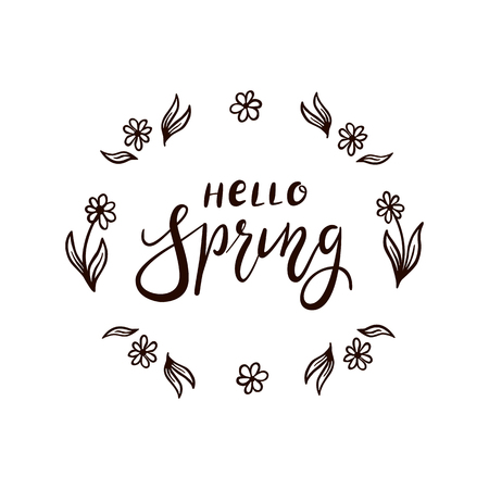 Black lettering with flowers isolated on white background. Text Hello Spring, illustration. Illustration