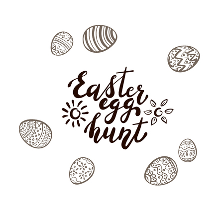 Black Easter lettering with sun, flowers and set of eggs with pattern, isolated on white background. Text Easter egg hunt, illustration. Illustration