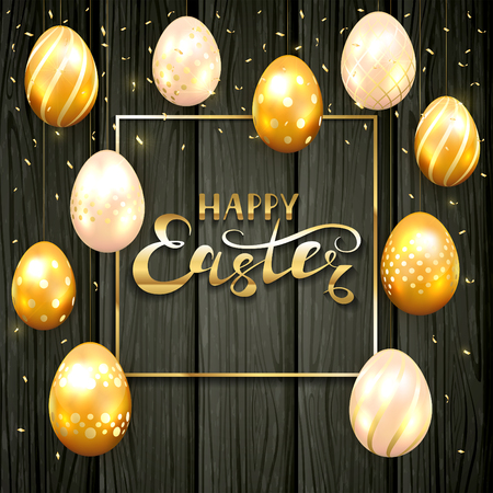 Golden Easter eggs with decorative patterns and confetti. Gold Frame with lettering Happy Easter on black wooden background, illustration.