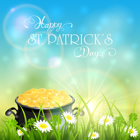 Cauldron with gold of leprechaun in grass and clover on blue sky background. Holiday lettering Happy St. Patricks Day, illustration.