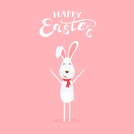 Cute Easter rabbit with scarf and lettering Happy Easter on pink background, illustration. Illustration