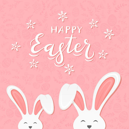 Cute Easter rabbits with ears and lettering Happy Easter on pink background with floral elements and eggs, illustration. Illustration