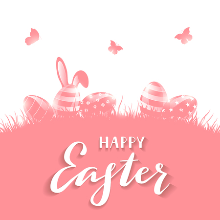 Pink background with Easter eggs in a grass and rabbit ears. Holiday lettering Happy Easter, illustration. 矢量图像