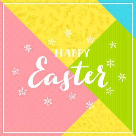 Lettering Happy Easter on abstract colorful background, illustration.