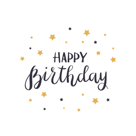 Black text Happy Birthday with golden stars isolated on white background, illustration. Иллюстрация