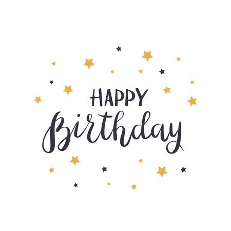 Black text Happy Birthday with golden stars isolated on white background, illustration. Illusztráció