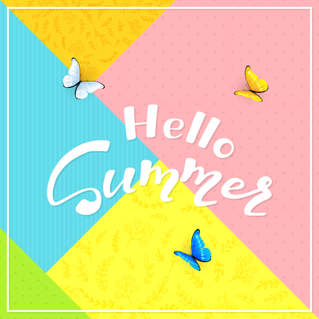 Abstract colorful background with text Hello Summer and butterflies, illustration.