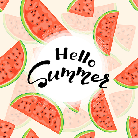 Black lettering Hello Summer and set of juicy watermelon slices on pink background, Vector illustration. Stock Illustratie