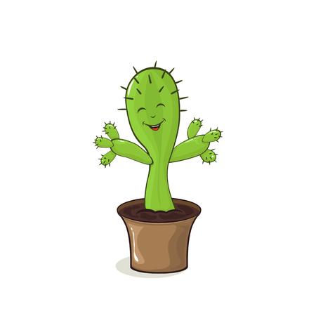 Happy cactus isolated on white background, illustration.