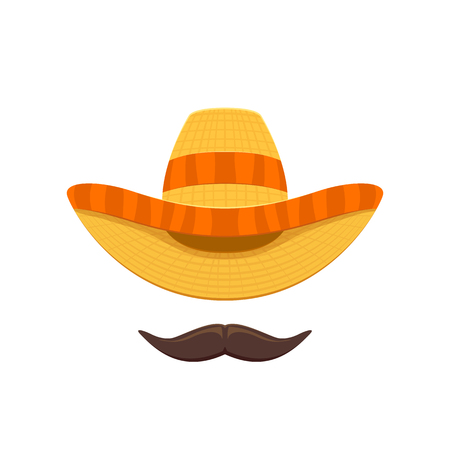 Mexican sombrero hat and mustache for Cinco de Mayo isolated on white background, illustration.