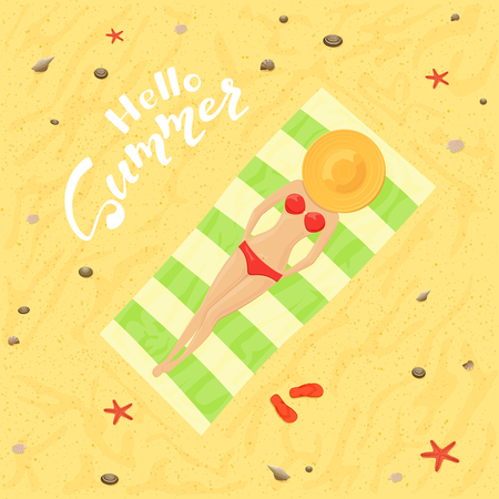 Girl sunbathing on the sand on the beach in a swimsuit and text Hello Summer, illustration.