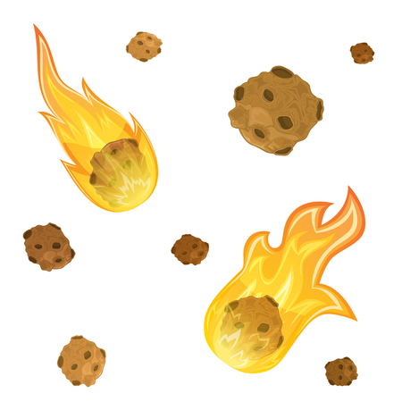 Set of falling meteorites with fire isolated on white background, illustration.
