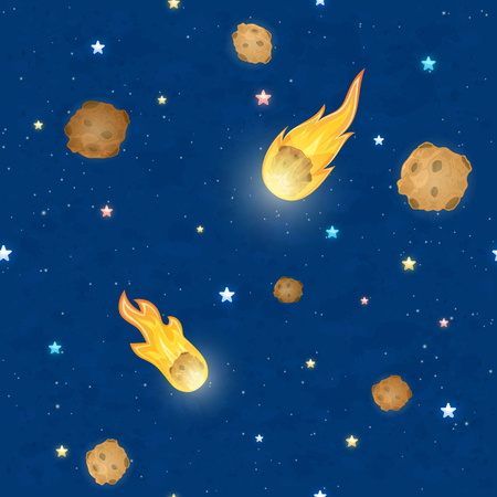 Falling meteorites with fire pattern Illustration