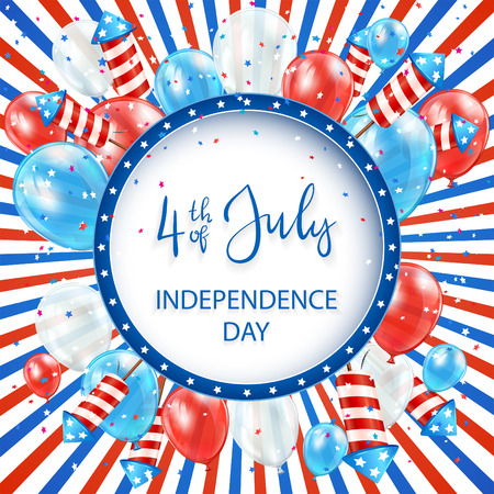 Independence day striped background with round banner, balloons and rocket fireworks, illustration.