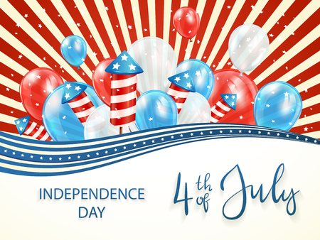Independence day background with stars and red and blue lines. Lettering 4th of July with balloons and rocket fireworks, illustration. Illustration