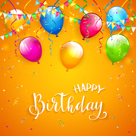Text Happy Birthday on orange background with holiday streamers, pennants, flying colorful balloons and confetti, illustration.