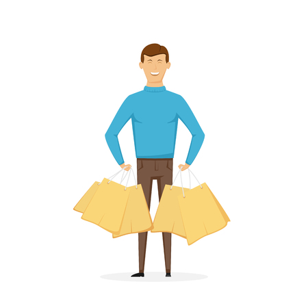 Mens shopping. Happy man with shopping bags isolated on white background, illustration. Illustration