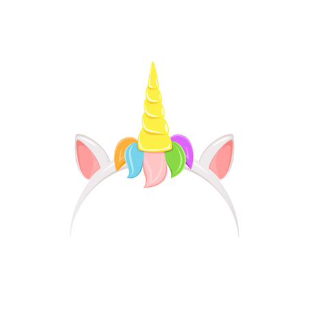 Unicorn headband with rainbow hair, ears and horn, isolated on white background, illustration.