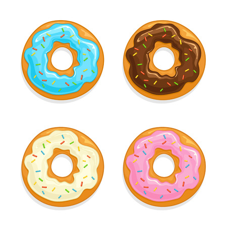 Set of donuts with glaze and colorful sprinkles isolated on white background, illustration.