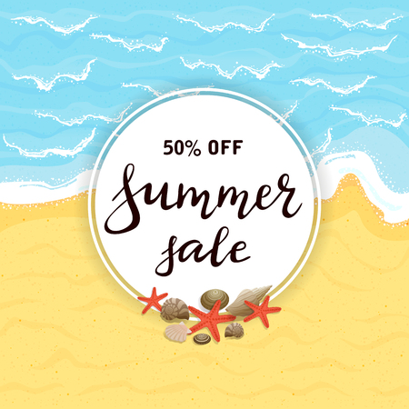 Lettering Summer Sale on round card with starfish and seashells. Sandy beach of ocean or sea, illustration.